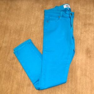 PAIGE Turquoise Blue Colored Jeans